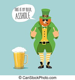 Angry leprechaun with beard. Bad leprechaun shows fuck. It's...