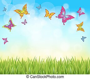 nature background with grass and butterflies