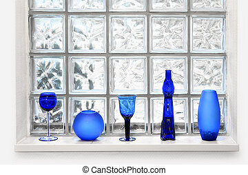Glass tile window arrangement - Blue vases and glassed in...
