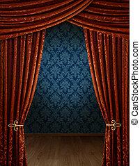 Grandiose, ouverture, rideaux