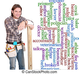 career guy - one young caucasian guy with construction tools...