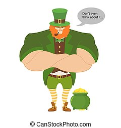 Leprkeon and gold. Serious Powerful leprechaun protects pot...