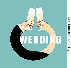 Wedding. Symbol of  ring from hands of  newlyweds. Bride and groom drink champagne. Glasses with white sparkling wine