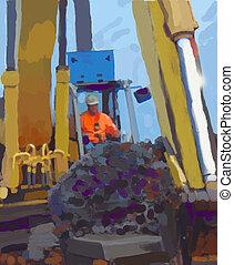 Mud Shovel - Construction work at job site.