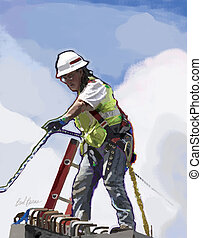 Lady Rigged - Female construction worker at job site.