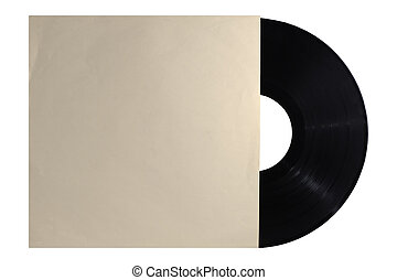 Old vinyl record in a paper case - Old retro vinyl record in...