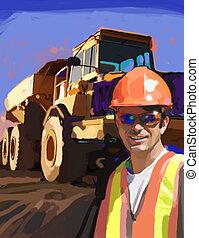 Shades - Construction work at job site.