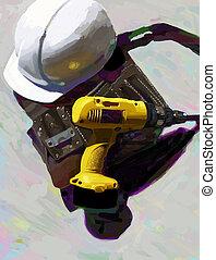 Drill, Hat, tool belt - Still life of construction tools