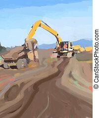 Loader - Construction work at job site.