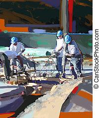 Team Pour - Construction work at job site....