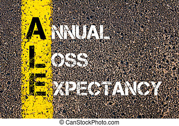 Business Acronym ALE Annual Loss Expectancy - Concept image...