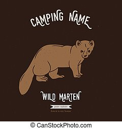 Forest marten vector illustration. European animals...