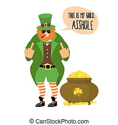 Bad leprechaun shows fuck. Bully with Red Beard. Angry...