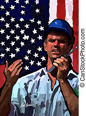 Flag Man - Construction worker with flag