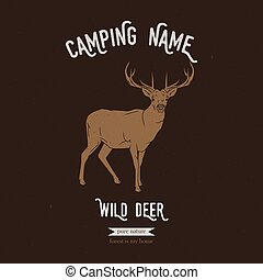 Wild deer vector illustration. European animals silhouettes with lettering chalk board. Camping logo gesign.