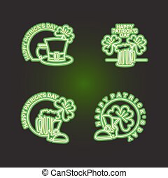 Set logo Patricks day. Neon sign shines in dark green. Characters of Irish holiday beer mug and clover. pint of ALE and leprechaun Hat. Emblem for Irish holiday St. Patrick's day.