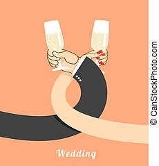 Wedding. bride and groom drink champagne on  brotherhood. hand of  man and woman with glass of wine. Drink alcohol brotherhood