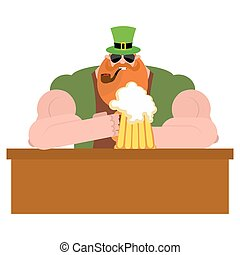 Leprechaun drinking beer. Big and serious leprechaun at  bar holds pint of ALE. Powerful magical midget with  big Red Beard. Green frock coat and hat cylinder. Illustration for  Irish holiday St. Patrick's day.