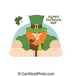 Serious leprechaun and  bottle of beer. Brutal Leprechaun at  bar.dreaded dwarf drinking green El.  big Red Beard and  Green Hat cylinder. Pipe leprechaun. Character for St. Patrick's day national holiday in Ireland