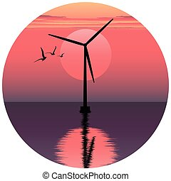 vector illustation of windmill. electric windmill in the sea. windmill at sunset. windmill at sunrise. clean energy icon. clean energy logo.