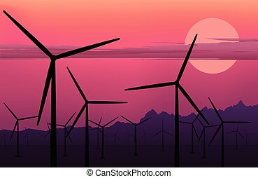 vector horizontal illustration of electric windmill. Wind energy. Clean energy background.  Windmill at sunset. Windmill at sunrise. Environmental energy.