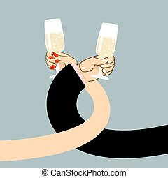 Man and woman drink wine. Mens hand and a glass of champagne. Female hand holding glass with white sparkling wine. Drinking brotherhood. Illustration of romantic for  first date