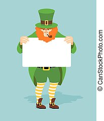 Leprechaun and Billboard. Red dwarf and  white sheet of paper. Mythical Irish character in green clothing. Striped yellow socks and old shoes. Leprechaun for St. Patrick's Day March 17
