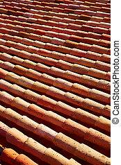Arabic roof tiles in Teruel of Spain