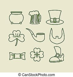 Patricks day icons set Linear symbols for Irish holiday...