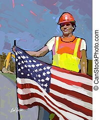 Keith - Construction work with flag