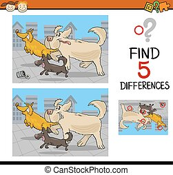 differences educational game - Cartoon Illustration of...