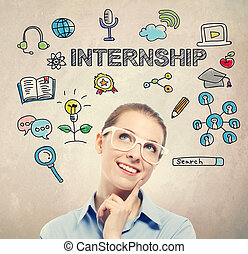 Internship concept with young business woman wearing white...