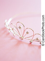 Wedding Tiara On Bridal Pink Background - silver princess...