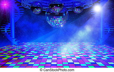 Disco lights background with mirror balls, chrome lattice...
