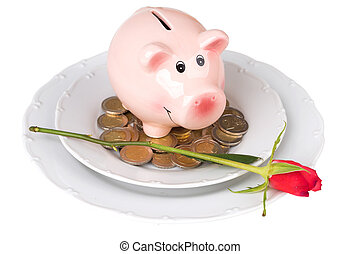 piggy bank with coins on a plate over white