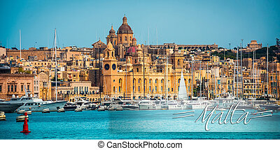postcard with view on Birgu from the sea