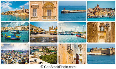 Maltese architectural details and sights in collage
