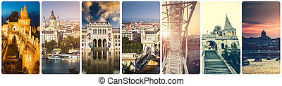collage of Budapest sights at night