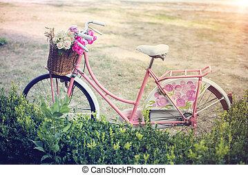 ピンク, 型, 花, 自転車, バスケット
