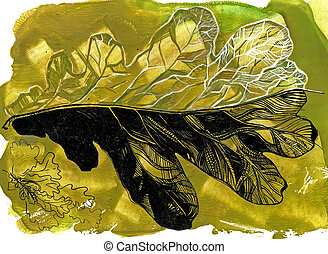 Oak leaf drawing by brush and ink Silhouette and structure...
