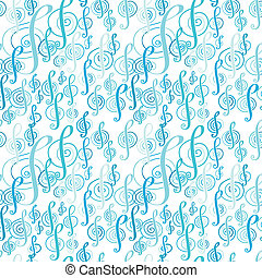 Seamless music pattern with a treble clef - Seamless music...