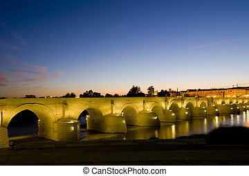 Roman bridge at night, Cordoba, Andalusia, Spain