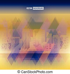 Vector modern city. Stained-glass window. Cityscape...