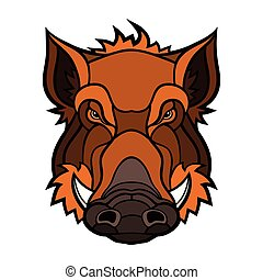 Head of boar mascot color design Vector illustration