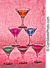 Pyramid martini different colors of glasses