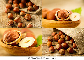 hazelnuts scattered out of the bag on old wooden background. Healthy vegetarian food. Collage
