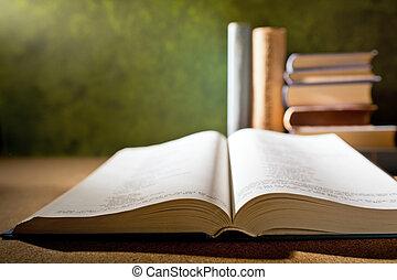 open book - detai of open book in the bookshelf