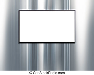 blank wide screen TV with platinum wall background - blank...
