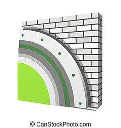 Polystyrene wall insulation scheme - 3D layered scheme of...