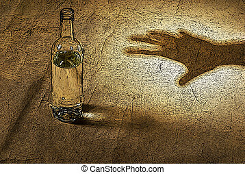 the hand reaching for bottle of alcohol - illustration of...